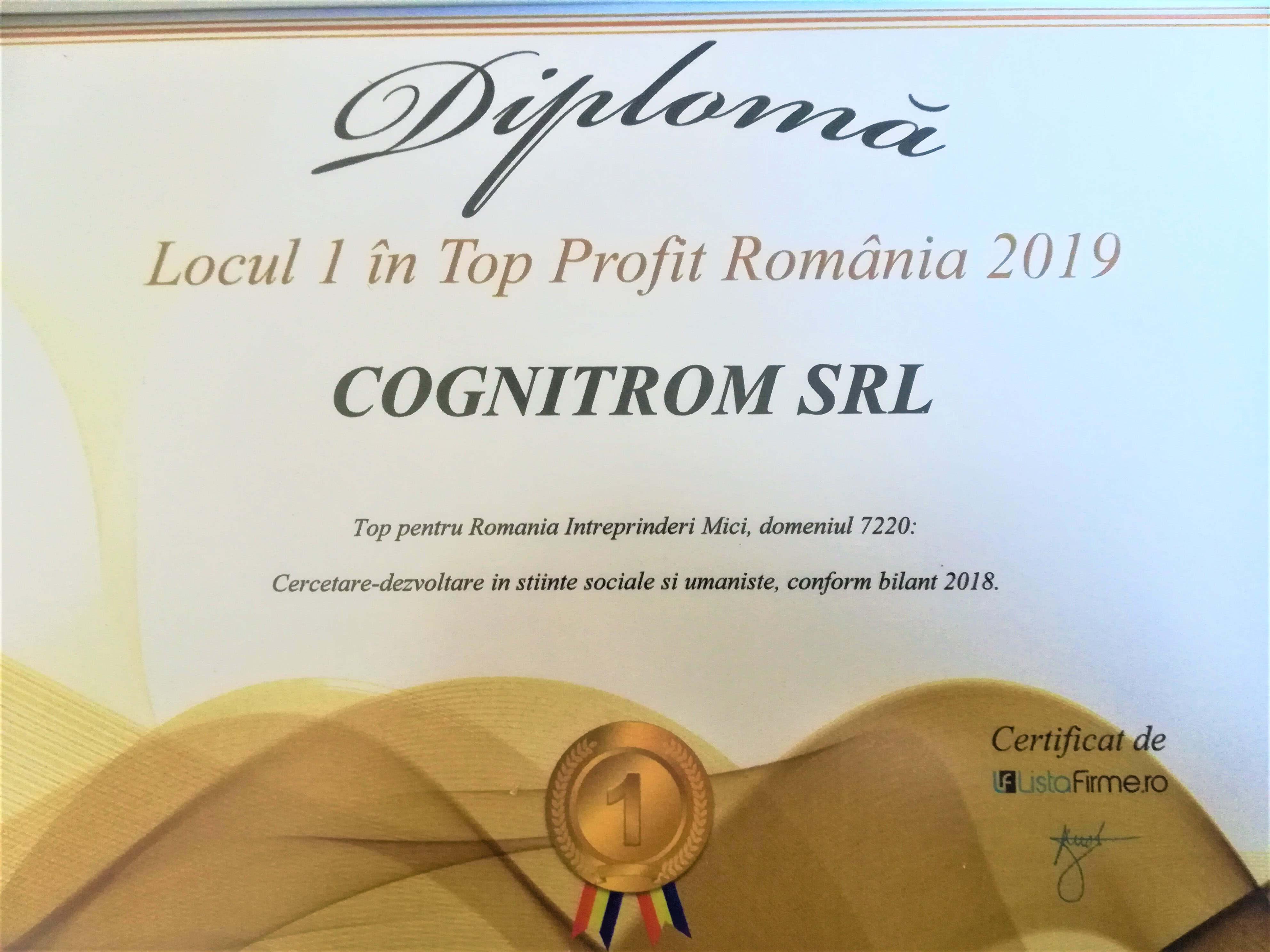 Locul 1 in top profit Romania 2019